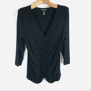 WHBM Black Ruched 3/4 sleeve Top Blouse Large